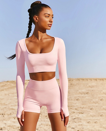 SOLID LONG SLEEVE O NECK TWO PIECE