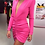 Thumbnail: V NECK RUCHED SEXY LONG SLEEVE PINK DRESS