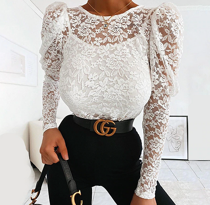 LACE SEE THROUGH LONG SLEEVE TOP IN WHITE