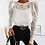 Thumbnail: LACE SEE THROUGH LONG SLEEVE TOP IN WHITE