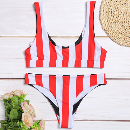 RED AND BLACK REVERSIBLE STRIPE BIKINI