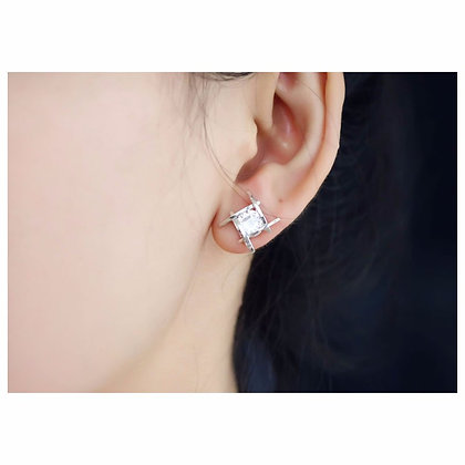ELEGANT SILVER CRYSTAL STUD EARRINGS