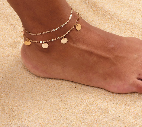 JANGLY GOLD COIN ANKLET