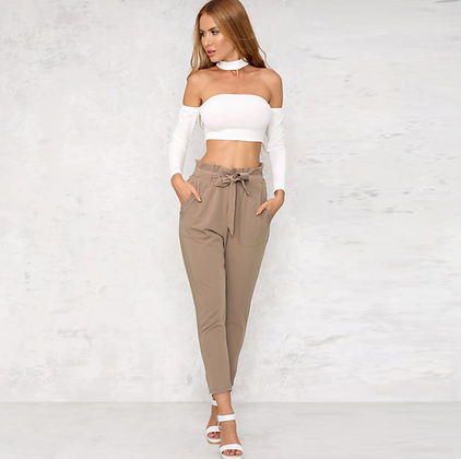 SAND TIE FRONT HAREM TROUSERS