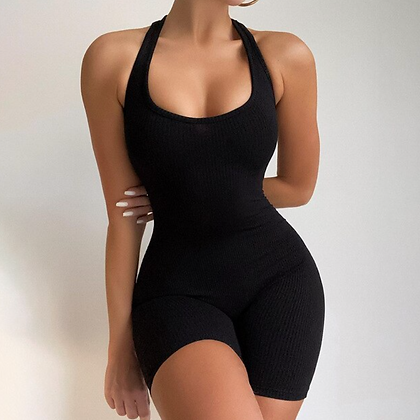 SLEEVELESS RIBBED BACKLESS BODYCON PLAYSUIT