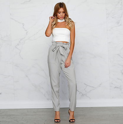 GREY TIE FRONT HAREM TROUSERS