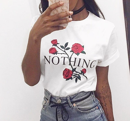 NOTHING SLOGAN ROSE T SHIRT