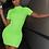 Thumbnail: RIBBED NEON HIGH NECK SHORT SLEEVE BODYCON DRESS