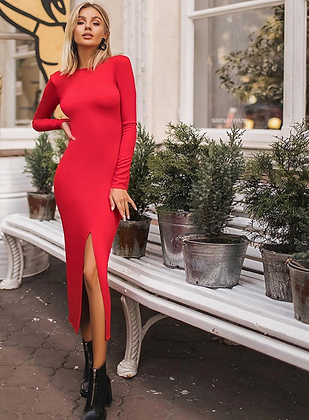 LONG SLEEVE SLIT BODYCON MIDI DRESS