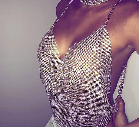 BACKLESS LUXURY RHINESTONE TOP