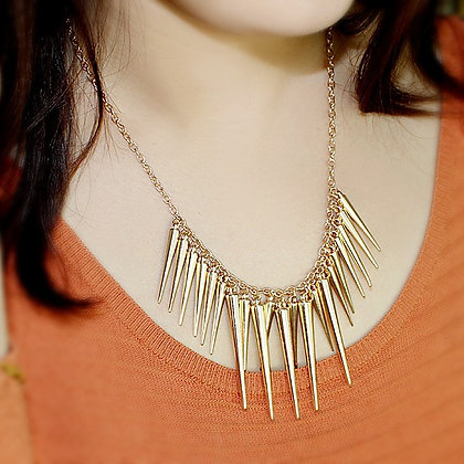 STEAMPUNK GOLD SPIKE MAXI NECKLACE