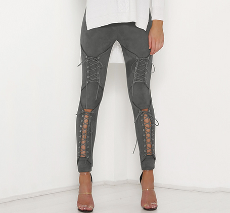 PREMIUM LACE UP SUEDE TROUSERS IN GREY