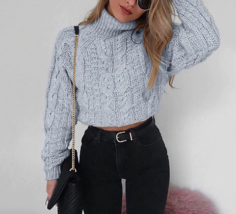 LONG SLEEVE CROPPED TURTLE NECK JUMPER