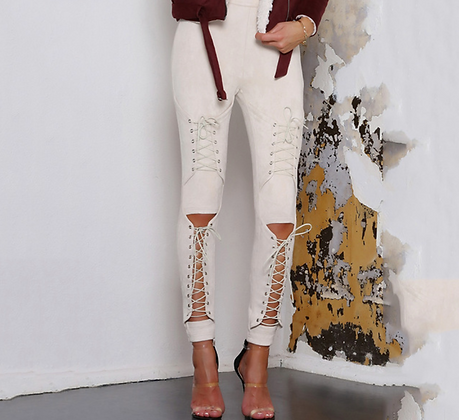 PREMIUM LACE UP SUEDE TROUSERS IN NUDE