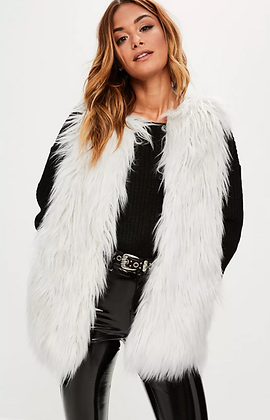 LUXURY WHITE FAUX MONGOLIAN GILET