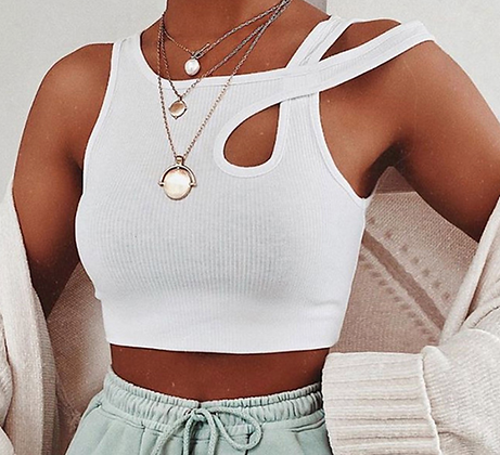 HOLLOW OUT SEXY RIBBED CROP TOP