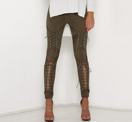 PREMIUM LACE UP SUEDE TROUSERS IN KHAKI
