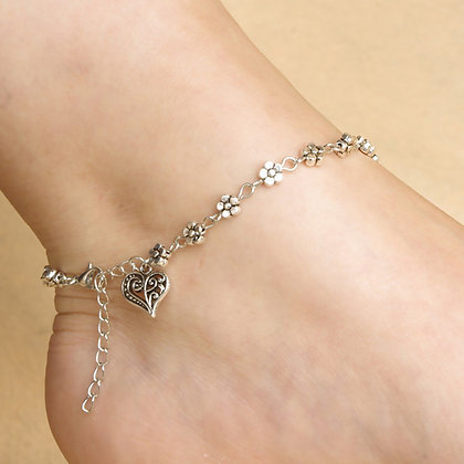 HEART PENDANT FLOWER DROPS ANKLET