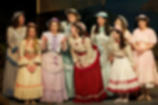 """Caitlin Burke as Edith in with Amy Helfer, Emily Wright, Rebecca O'Sullivan, Meredith Borden, Katie Hall, Jennifer Piacenti, Monique Pelletier, Sarah Hutchinson, in """"The Pirates of Penzance"""" at Symphony Space"""