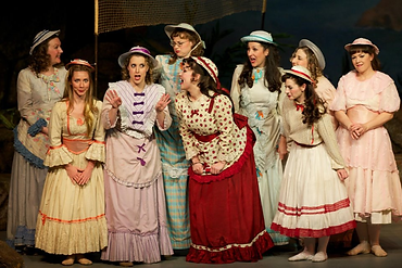 "Caitlin Burke as Edith in with Amy Helfer, Emily Wright, Rebecca O'Sullivan, Meredith Borden, Katie Hall, Jennifer Piacenti, Monique Pelletier, Sarah Hutchinson, in ""The Pirates of Penzance"" at Symphony Space"