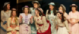 """Caitlin Burke as Edith in """"The Pirates of Penzance"""" with Emily Wright, Jennifer Piacenti, Amy Helfer, Sarah Hutchinson, Monique Pelletier, Rebecca O'Sullivan, Katie Hall, Meredith Borden at Symphony Space"""