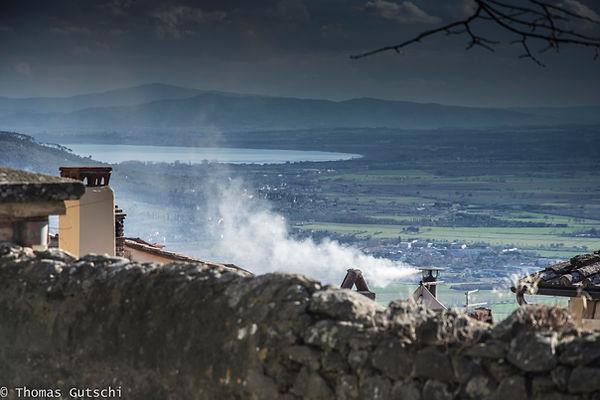 Cortona Blick auf den Lago Trasimeno