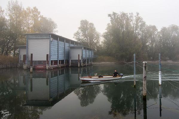 Nebel beim Bootshaus