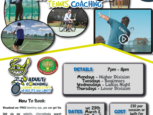 Easter adult tennis lesson in Northampton