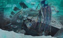 « Happy octopus » 2014, 120x170cm mixed media
