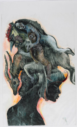 « Chimère »110 x 60cm 2016, monotype