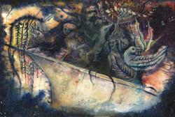 « La Mer des Sargasses »,2007,140x220cm, monotype