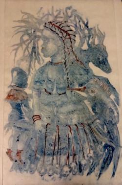 «  Légende de Saint Eloy » 2017, monotype rehaussé, 105 x 80 cm