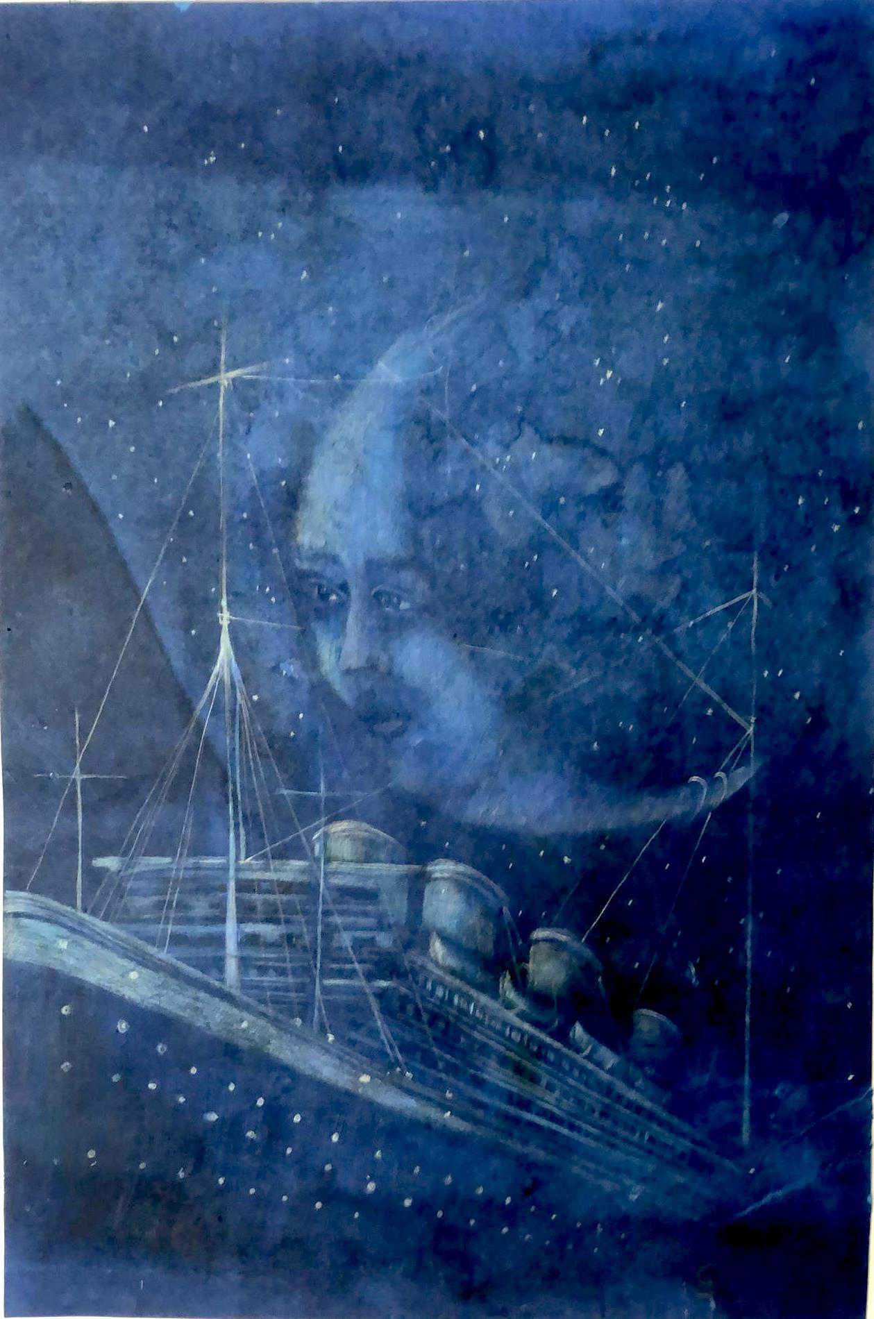 Moon catcher,2019, 90x 60cm,monotype