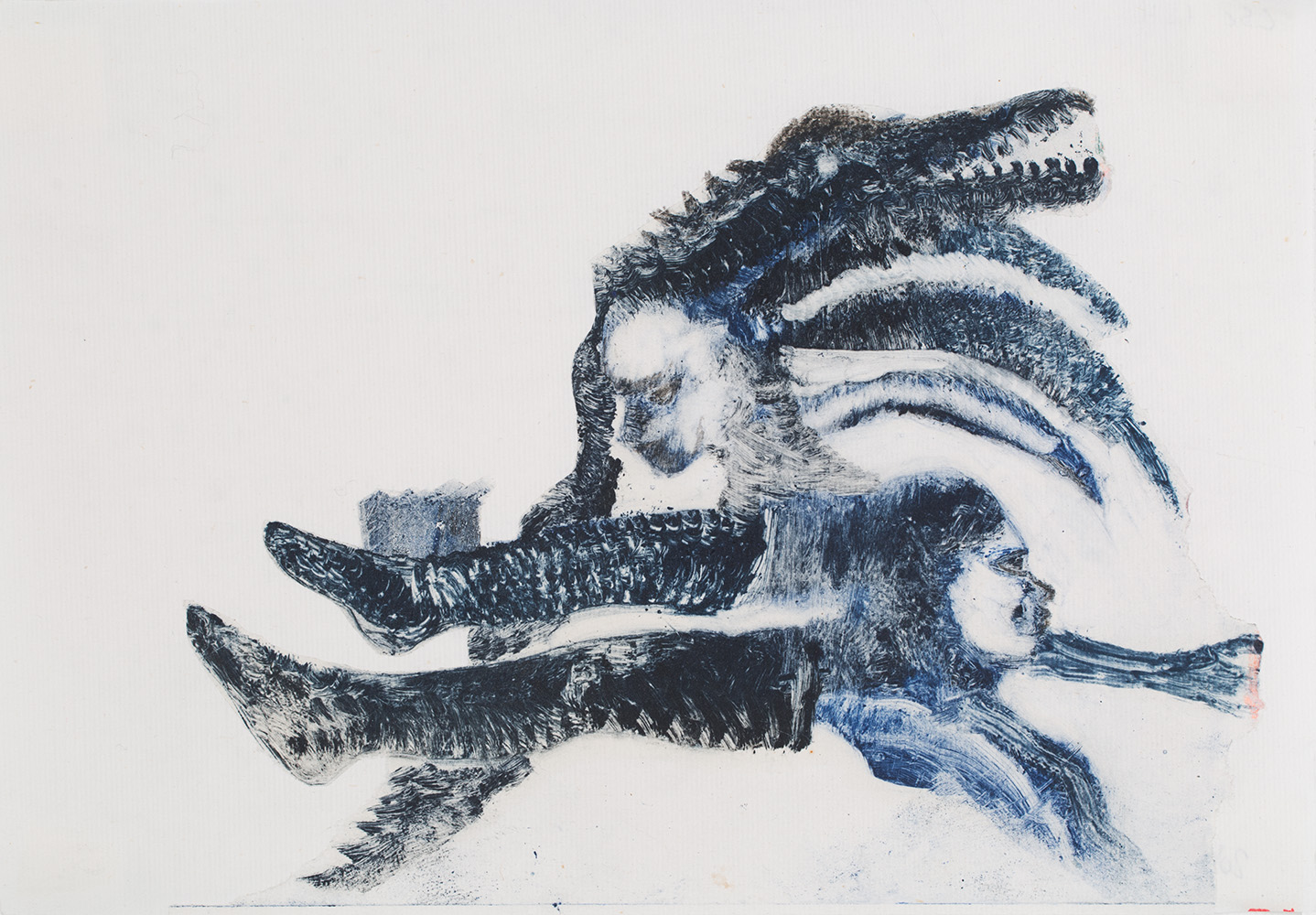 Christine Sefolosha, Boots, 2018, Oil monotype / Chine collé, 8.25 x 11.5 inches, 21 x 29.2 cm, CSe