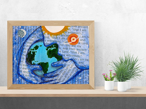 Bible verse art, art with text, planet earth, Christian art, Christian art for wall, Bible art print, inspirational gifts,