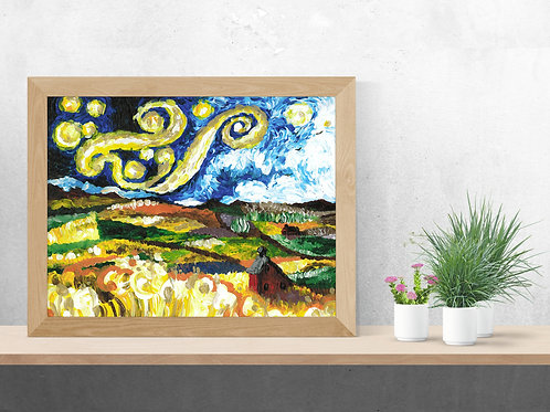 Starry night, red barn, Starry Night, barn art, night sky, wheat field, farm landscape, palouse art, Van Gogh inspired