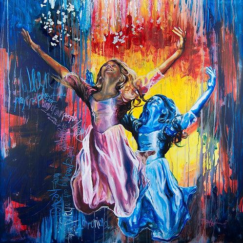 Paint drip, mixed media collage art, pink dress, Dancer wall art, square art print, inspirational gifts for women, scripture