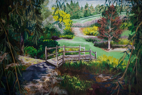 Moscow, Idaho Arboretum. Oil pastel garden and bridge. Art by Danica Thurber