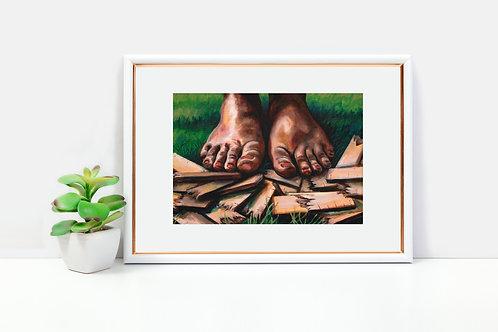 Barefoot grass, Colorful art print, art for self-esteem, inspirational wall art, inspirational gift for women, gift for teen