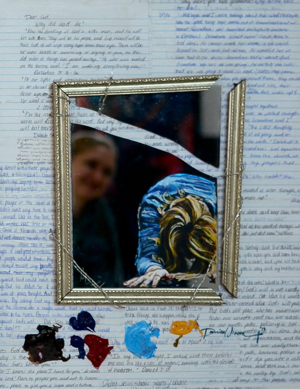 surrender, bowing, mirror, broken mirror, unanswered questions, grief, why