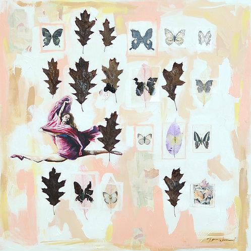 Ballet art, dancer wall art, blush pink art, art for girls room, butterfly art, fall leaves print, inspirational gifts