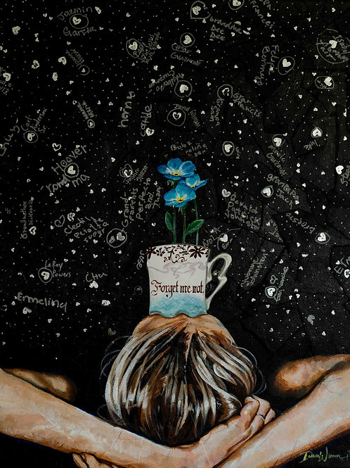 """""""Forget me not"""". Looking up at the stars, she remembers those who've gone before. Art by Danica Thurber"""