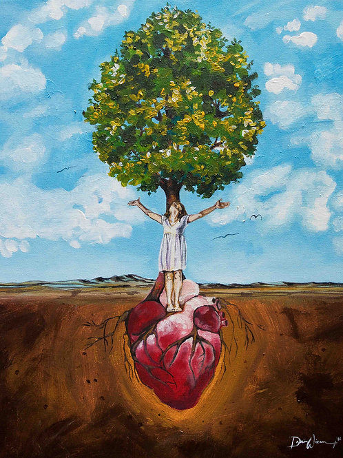 Heart, tree, woman worshipping. Rooted in Love Ephesians 3 prayer. Acrylic art by Danica Thurber