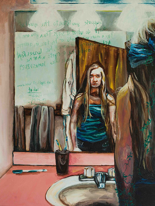 "Self Image. The girl looks at herself in the mirror and asks ""who am I?"""