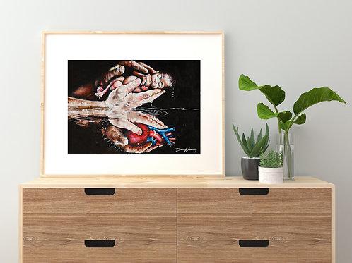 Anatomical heart, God's hands, baby, water rebirth, John 3:16 art, Nicodemus, new mom, miscarriage sympathy gift