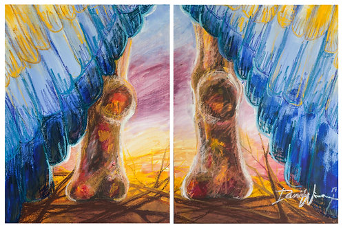 Bird taking off. The best is yet to come. Oil pastel Art by Danica Thurber
