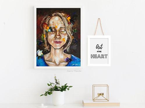 self portrait, artist gift, paint splotch, paint splotches, artist portrait, danica thurber, danica the artist