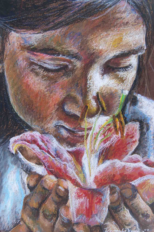 Girl smells a tiger lily. Art by Danica Thurber oil pastel