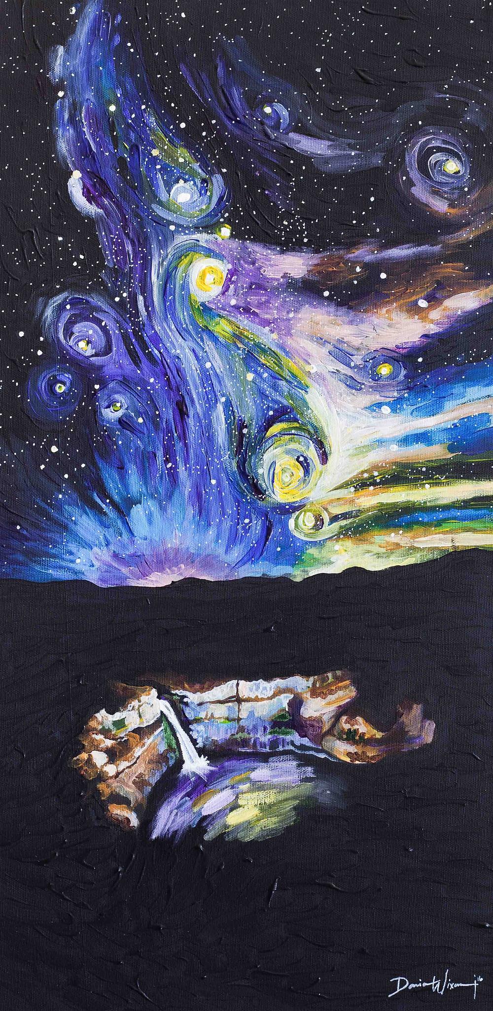 Palouse Falls, Van Gogh, Starry Night, stars, impasto, waterfall painting