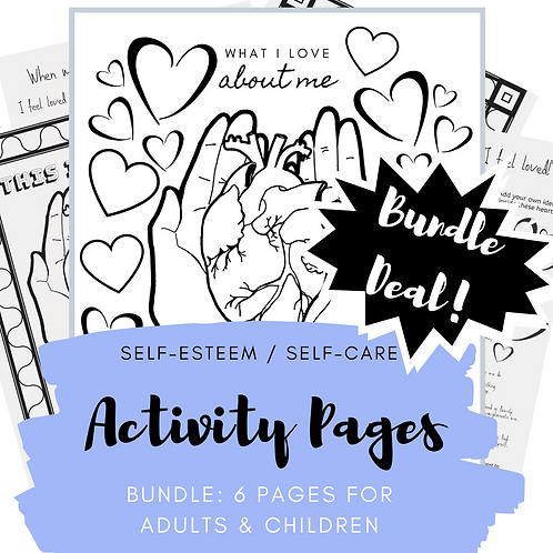 Printable BUNDLE: Self-Care Activity Pages for adults & kids